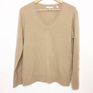 VINCE cashmere tan camel sweater V-neck medium